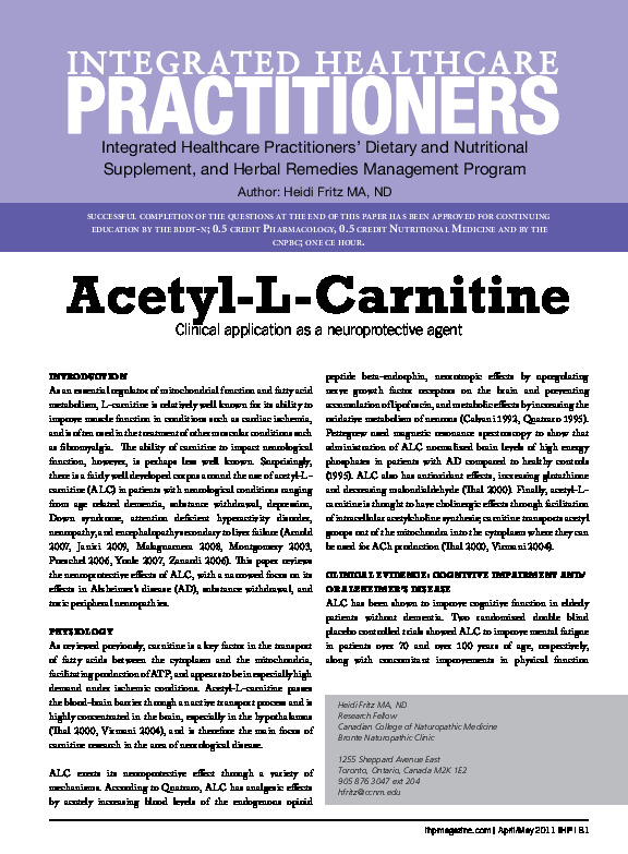 Acetyl L carnitine and brain health