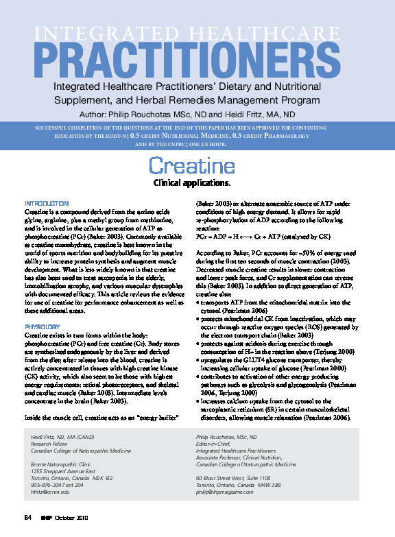 Creatine and musculoskeletal health