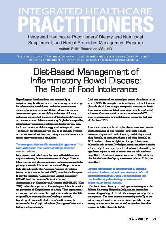 Diet and inflammatory bowel disease