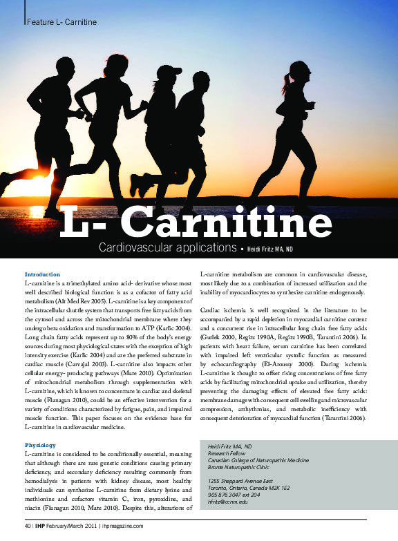 L-carnitine and heart disease