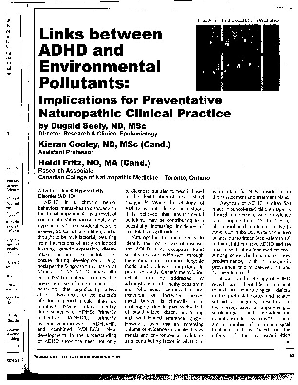 Links between ADHD and environment